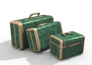 Three Green Suitcases