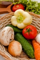 Mixed vegetables in a wicker basket